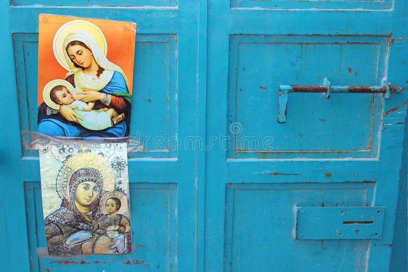 Virgin azul Mary Jesus dos cartazes das portas, Bethlehem imagens de stock royalty free
