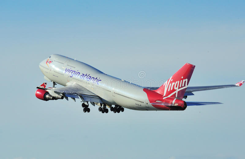 Virgin Boeing atlantico 747 fotografie stock