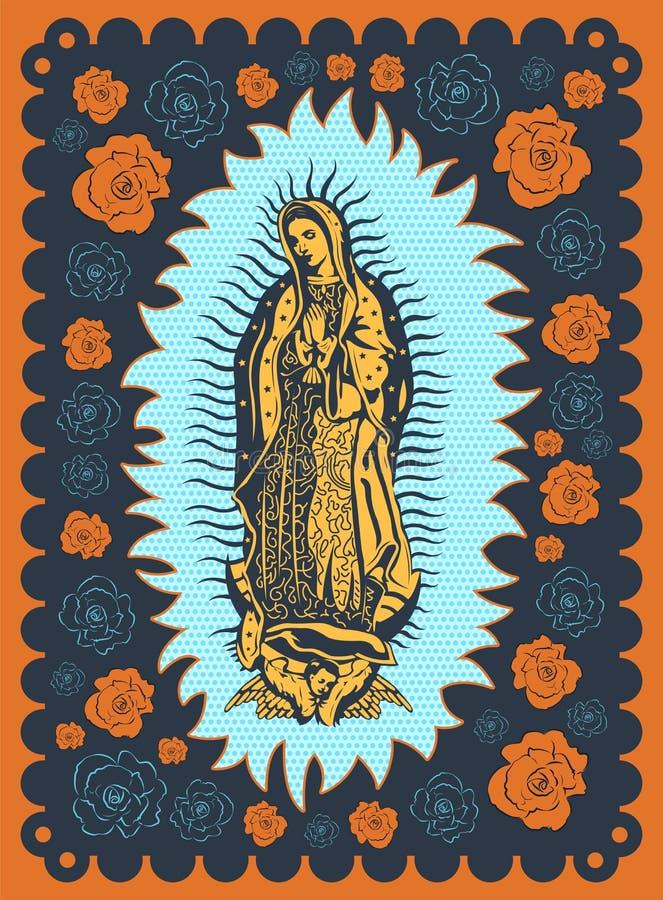 Virgin da ilustração do cartaz do estilo da tela de seda do vintage de Guadalupe ilustração stock