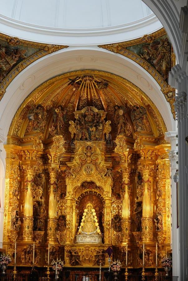Virgin do EL Rocio em Santuario Nuestra Senora del Rocio na Andaluzia imagem de stock