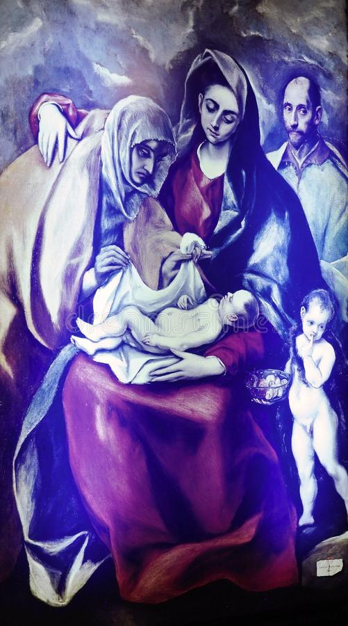 Virgin e a criança da pintura de El Greco no museu da casa do lugar de nascimento de Fodele imagens de stock