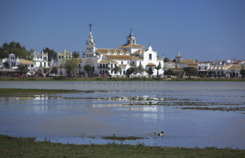 Virgin of El Rocío Lake. The hermitage of The Virgin of El Rocío (Almonte, Province of Huelva, Spain). There is an annual pilgrimage, known as the Romer stock photos