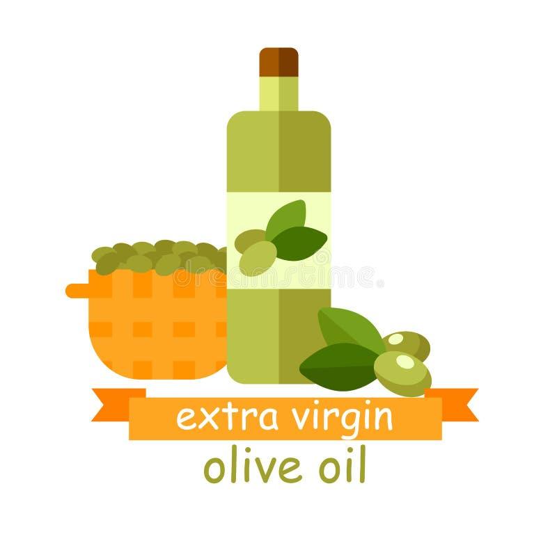 Virgin extra Olive Oil Banner, produto natural ilustração do vetor