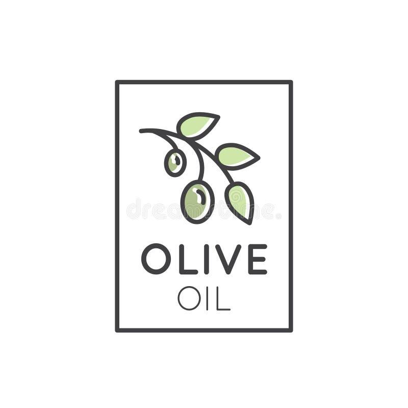 Virgin extra Olive Oil Plant com folhas e bagas ilustração stock