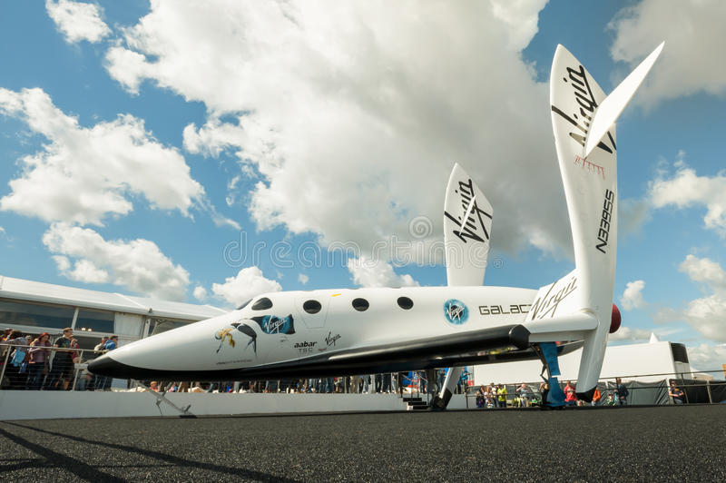 Virgin Galactic. The futuristic Virgin Galactic reuseable, sub-orbital spacecraft on static display at the Farnborough International Airshow, UK on July 15, 2012 stock photography
