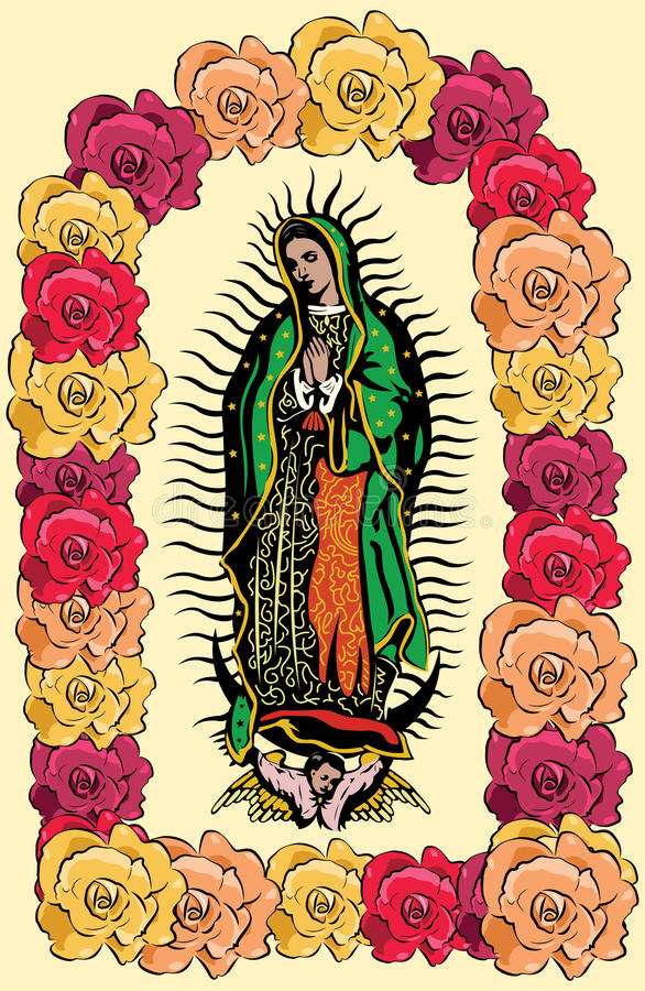The Virgin of Guadalupe and roses - vector vector illustration