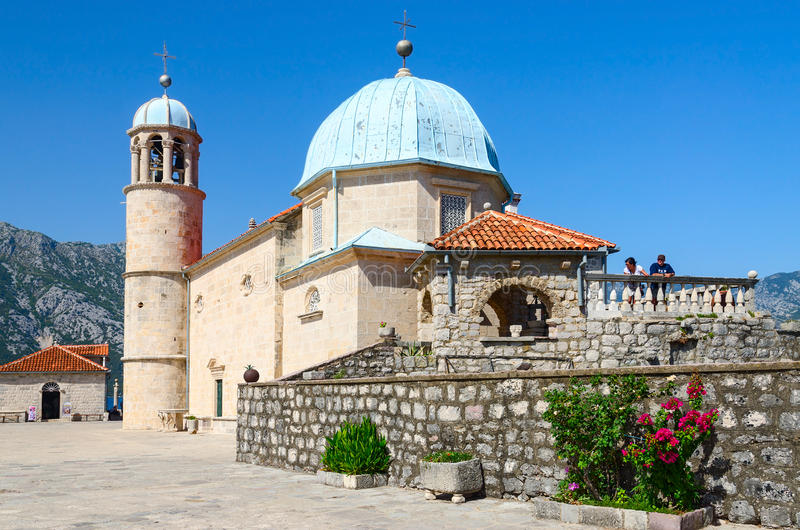 Virgin Island on Reef (Island of Our Lady of Rocks), Montenegro stock photo