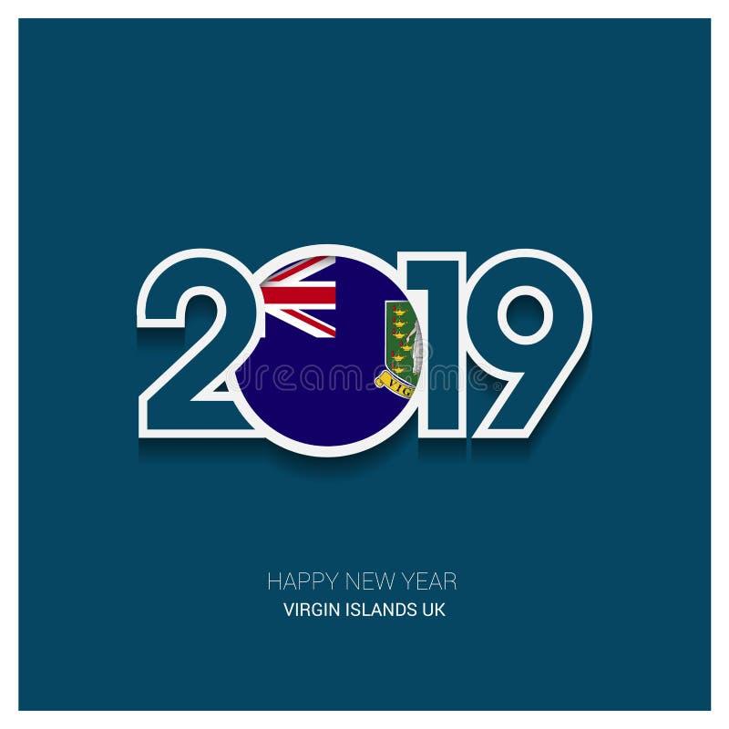 2019 Virgin Islands UK Typography, Happy New Year Background vector illustration