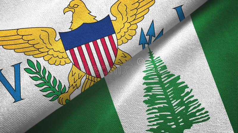Virgin Islands United States and Norfolk Island two flags. Virgin Islands United States and Norfolk Island two folded flags together royalty free stock photo
