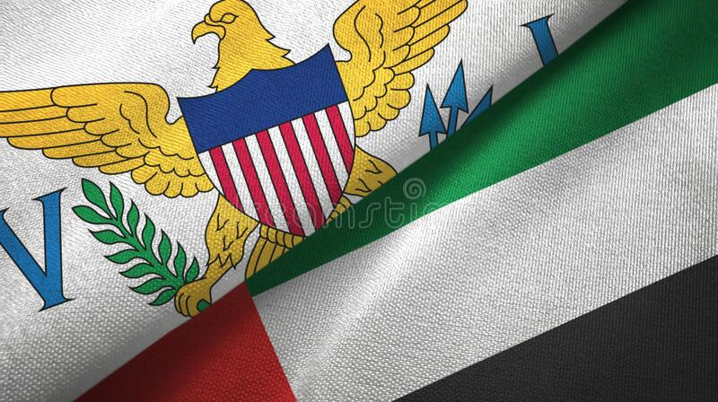 Virgin Islands United States and United Arab Emirates two flags. Virgin Islands United States and United Arab Emirates flags together royalty free stock photography