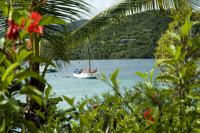 Virgin Islands View. View from Marina Cay over the caribbean sea to Great Camanoe Island in the British Virgin Islands stock photos