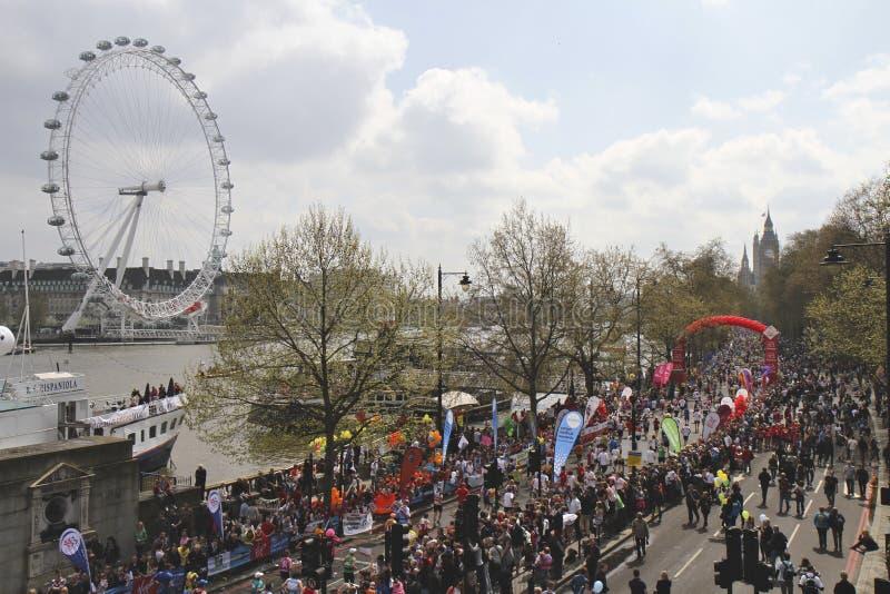 Virgin London Marathon 2010 and London Eye stock photos