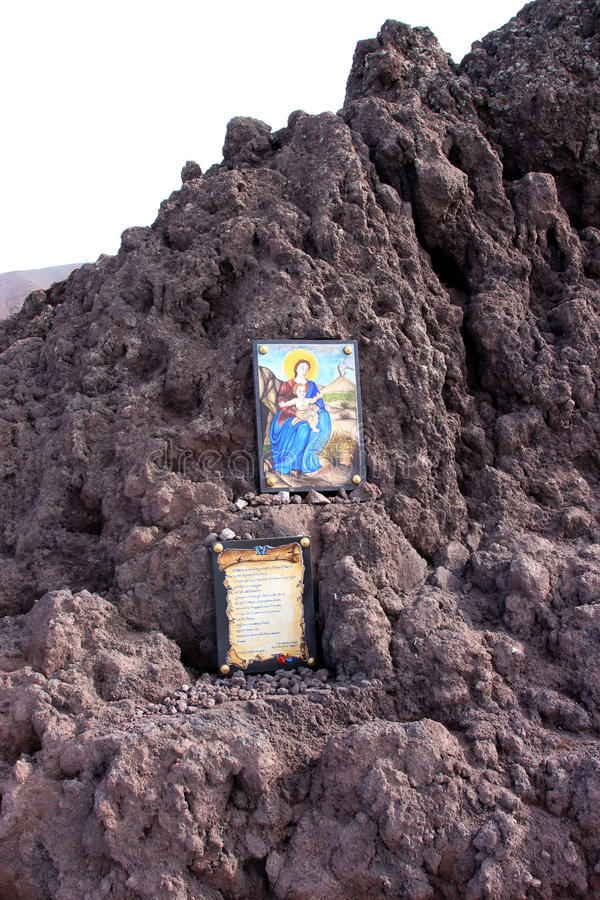 Virgin Mary Against Mount Vesuvius, Naples, Italy Royalty Free Stock Images