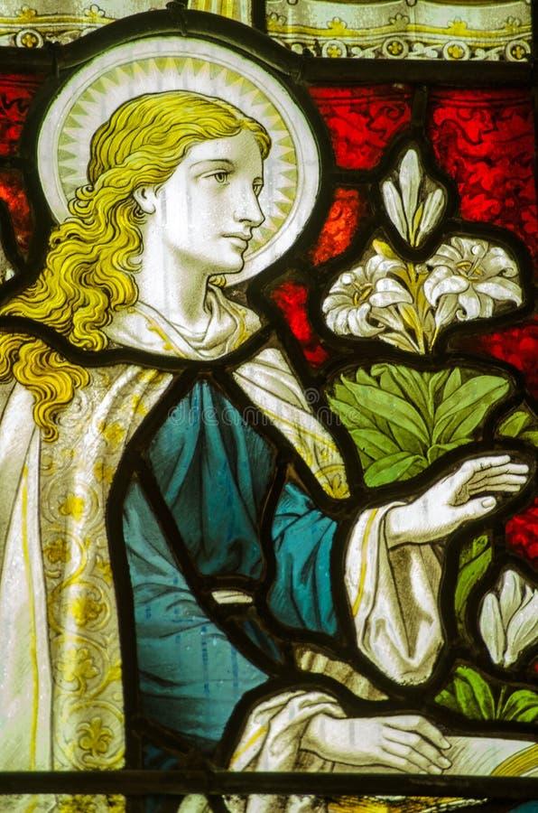 Virgin Mary Annunciation Window fotografia de stock