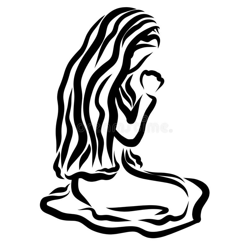 Virgin Mary or another woman humbly praying to God with a headscarf on her head royalty free illustration