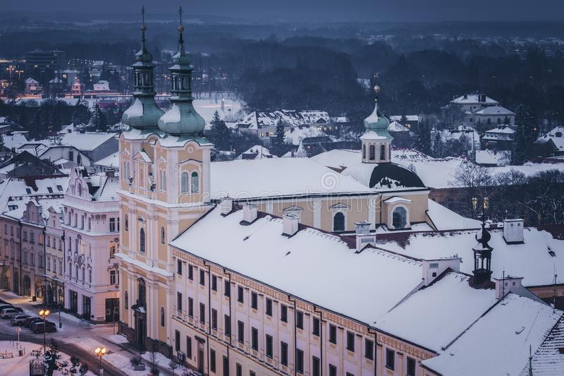 Virgin Mary Assumption Church on Main Square in Hradec Kralove. Hradec Kralove, Bohemia, Czech Republic stock photos
