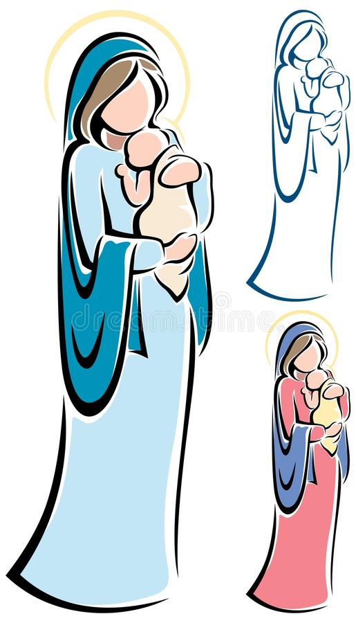 Virgin Mary and Baby Jesus stock illustration