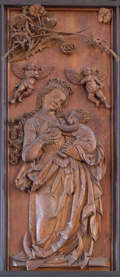 Virgin Mary and Child, Coronation of Mary altar in St James Church in Rothenburg ob der Tauber, Germany stock photo