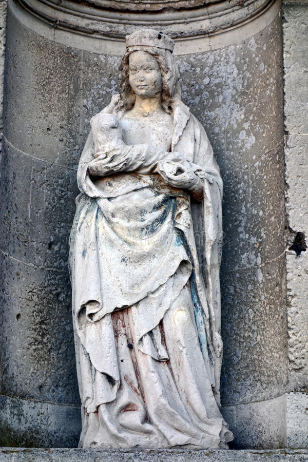 Download Virgin Mary With Child Sculpture In Church Alcove Stock Photos - Image: 34865903