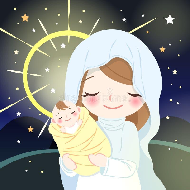Virgin Mary com bebê Jesus ilustração do vetor