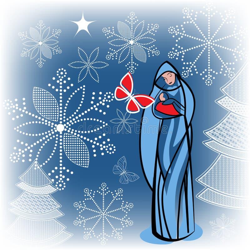 Virgin Mary com bebê Jesus ilustração royalty free