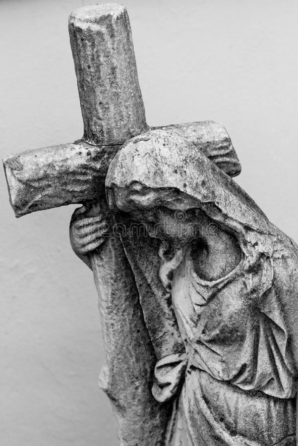 Virgin mary with cross black and white photo religious icons royalty free illustration