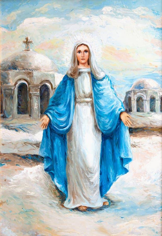 Pintura a óleo da Virgem Maria   ilustração do vetor