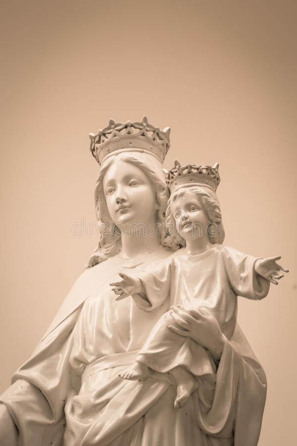 Virgin Mary e bebê Jesus (Vintage processado imagem filtrado foto de stock royalty free