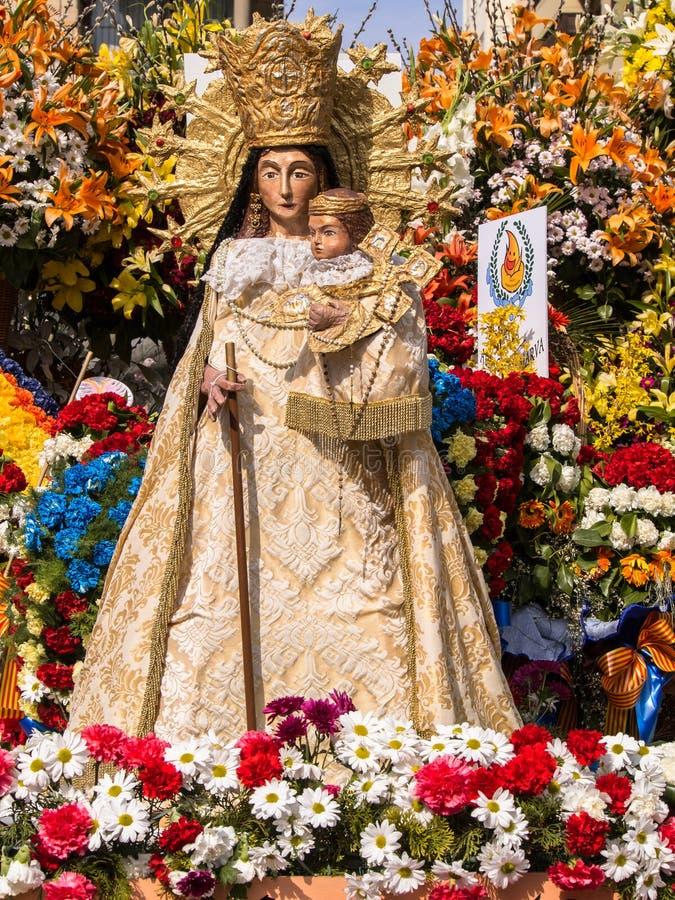 Virgin Mary Flower Sculpture Las Fallas Valencia Spain fotografia de stock royalty free