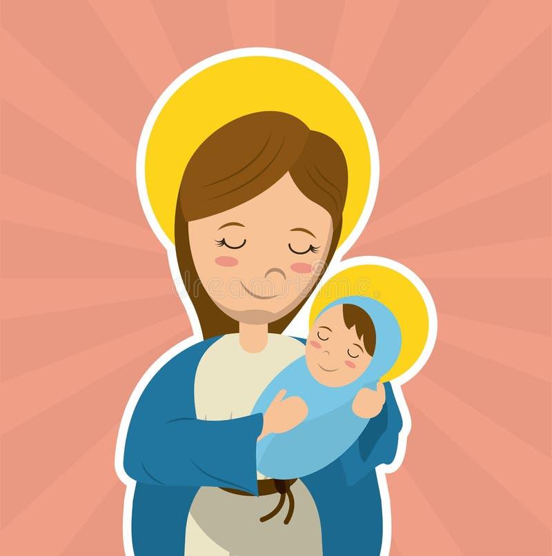 Virgin mary holding baby jesus catholicism saint symbol image. Vector illustration royalty free illustration