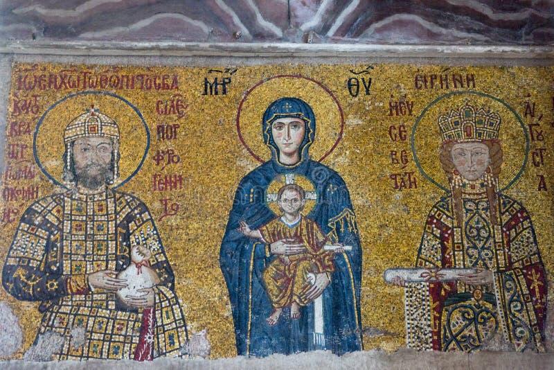 Virgin Mary with Jesus and Empress Irene on Byzantine mosaic. Emperor John II Comnenus, Virgin Mary with Jesus and Empress Irene on Byzantine mosaic in Hagia stock images