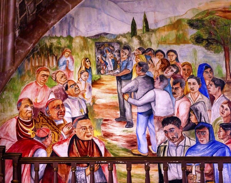 Virgin Mary Painting Parroquia Church San Miguel de Allende Mexico dos cardeais foto de stock royalty free