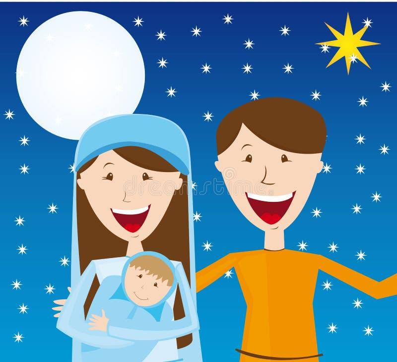 Virgin Mary, St. Joseph e bebê Jesus ilustração do vetor