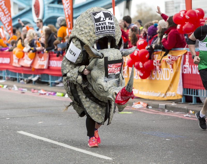 Virgin Money London Marathon. 24th April 2016. The second half of the London Marathon is full of amazing people who run to raise money for a charity of their royalty free stock photos