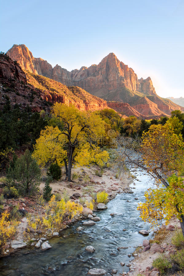 Virgin River at Sunset. Virgin River Valley at Sunset stock photography