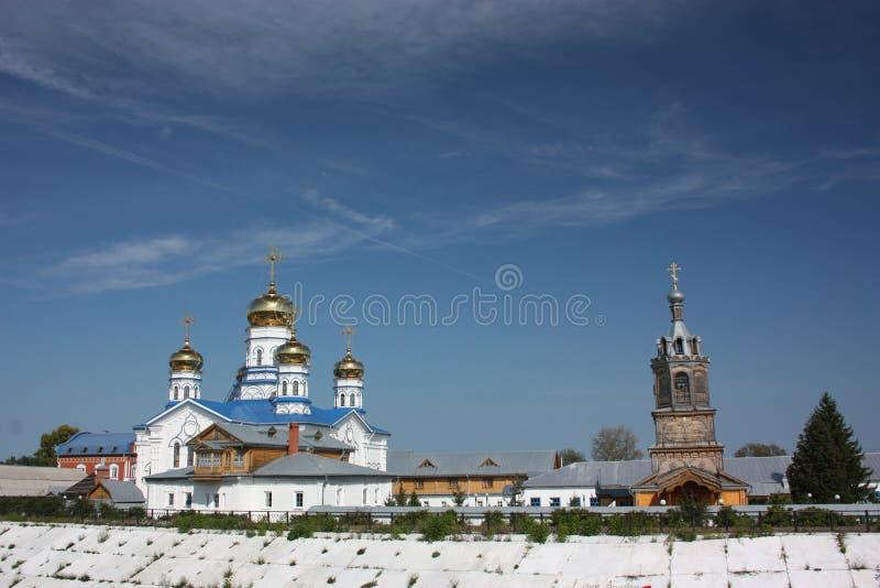 The Virgin of Tikhvin Monastery. Panorama. stock photo