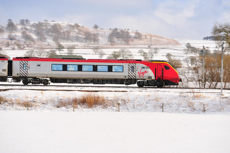 Download Virgin Train in the Snow editorial photo. Image of high - 17260171