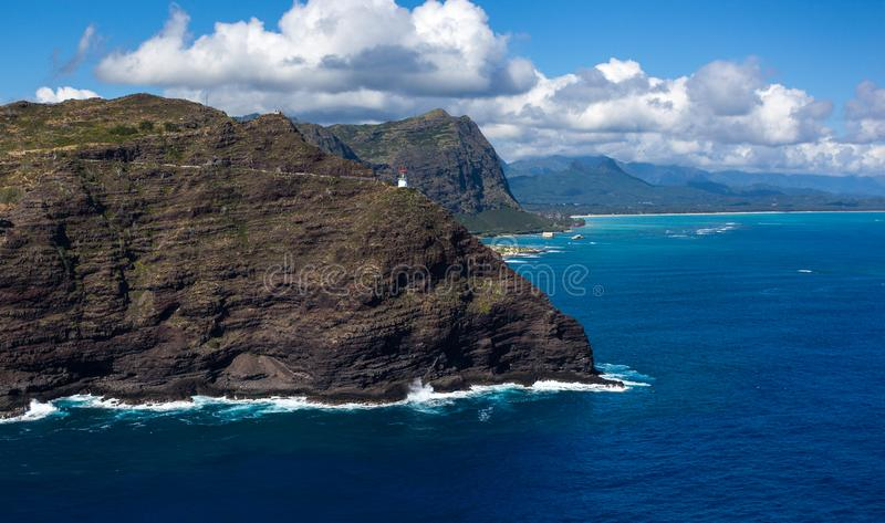 Amazing Scenic Makapuu Point Lighthouse Trail Hike royalty free stock images