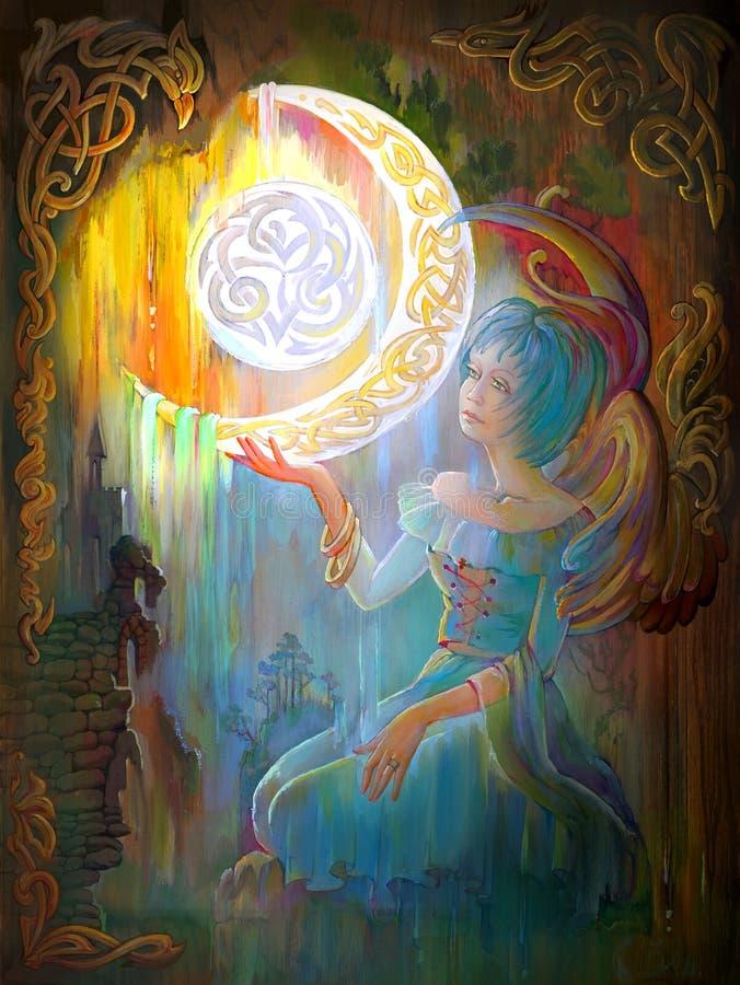 Virginal nacht Portret van mooi meisje in het oude Keltische milieu Olieverfschilderij op hout stock illustratie