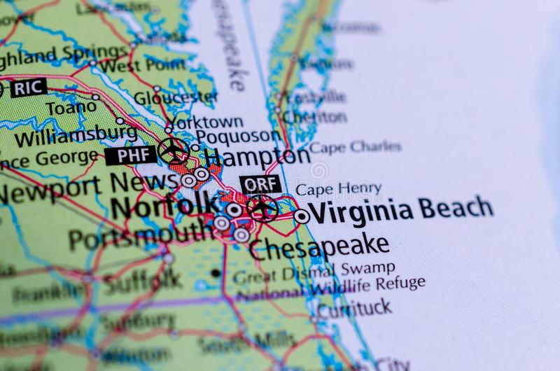 Virginia Beach, Вирджиния на карте стоковые фотографии rf