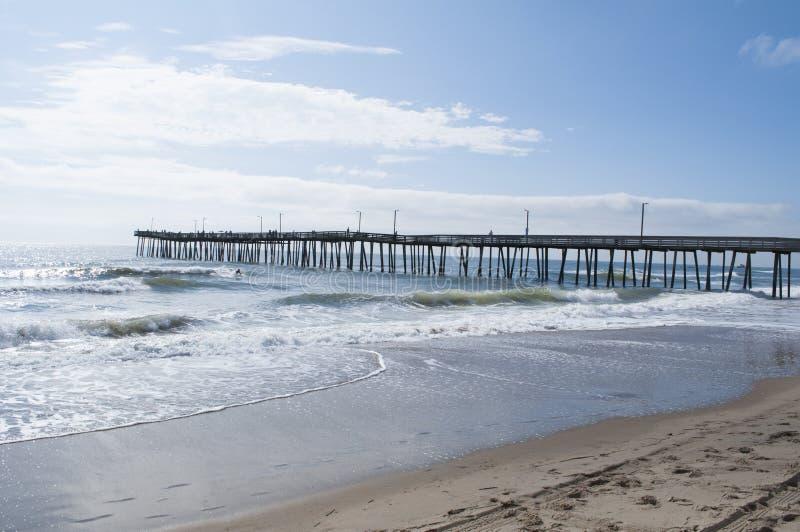 Virginia Beach Fishing Pier. An image of the 15th Street Fishing Pier at the beach at the Virginia Beach Boardwalk stock photos