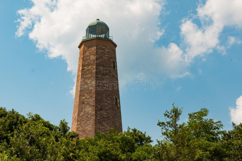 Old Cape Henry Lighthouse in Virginia Beach on Fort Story stock photo