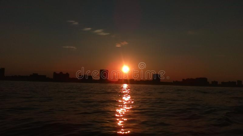Virginia Beach photo of a shoreline sunset from the ocean stock images