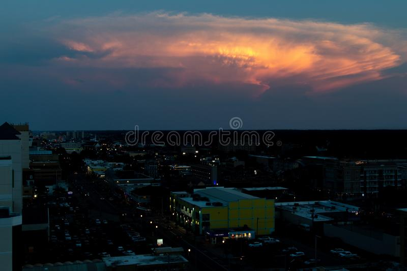 Virginia Beach. UNITED STATES - May 27, 2019: Night time images of  taken from a local hotel royalty free stock photos