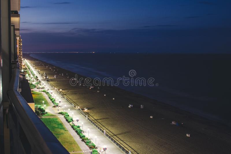 Virginia Beach. UNITED STATES - May 27, 2019: Night time images of  taken from a local hotel royalty free stock images