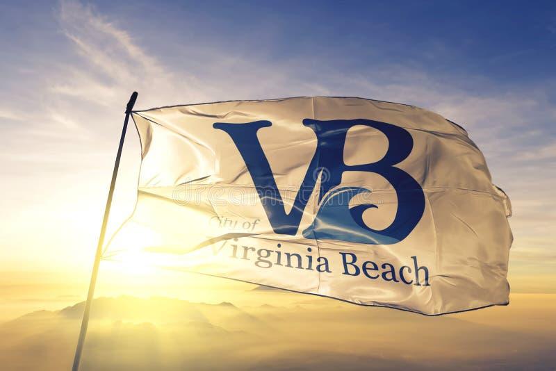 Virginia Beach of Virginia of United States flag waving on the top. Virginia Beach of Virginia of United States flag waving stock photo