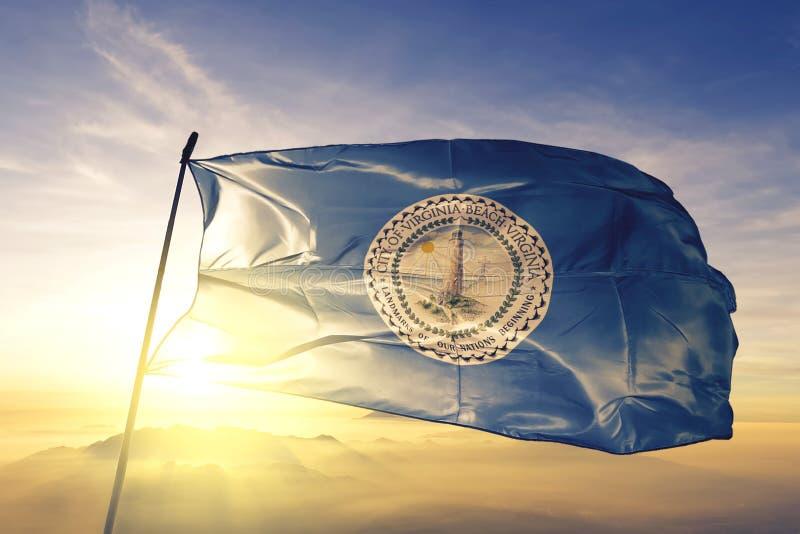 Virginia Beach of Virginia of United States flag waving on the top. Virginia Beach of Virginia of United States flag waving stock images