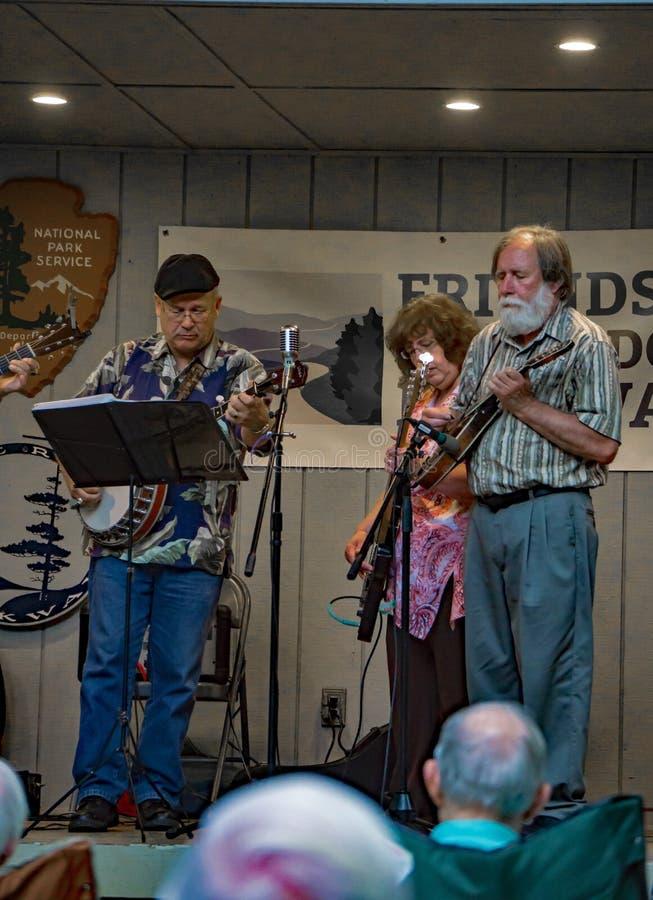 Virginia Carolina playing a Bluegrass Music. Roanoke County, VA, August 18th, 2019: Virginia Carolina playing Bluegrass Music at the Roanoke Mountain Picnic Area royalty free stock photo
