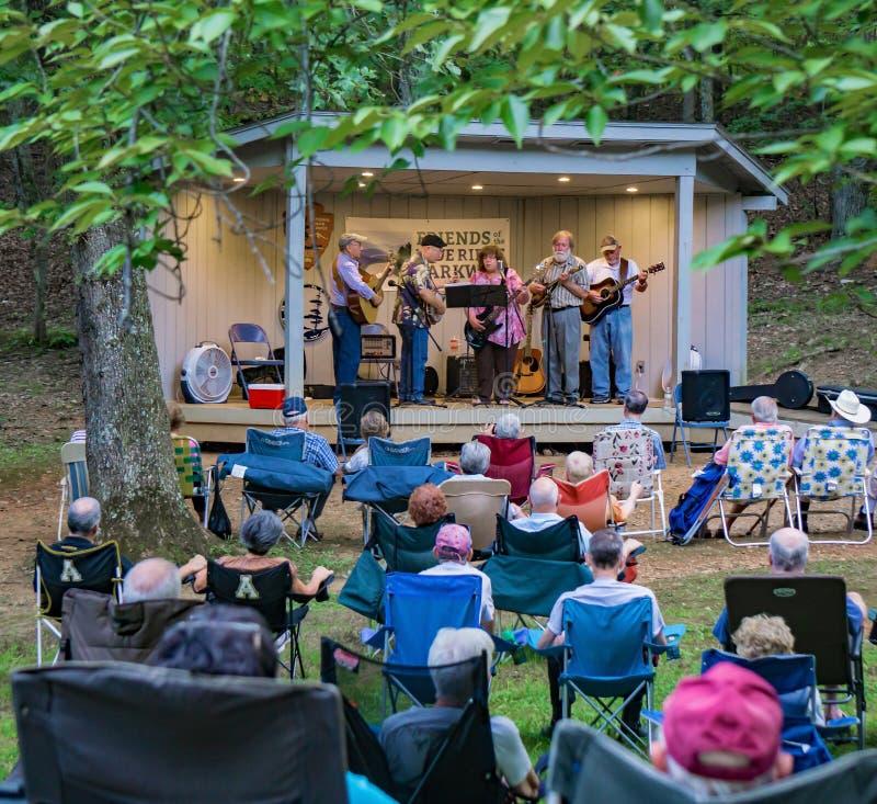 Virginia Carolina playing a Bluegrass Music - 2. Roanoke County, VA, August 18th, 2019: Virginia Carolina playing Bluegrass Music at the Roanoke Mountain Picnic royalty free stock photos