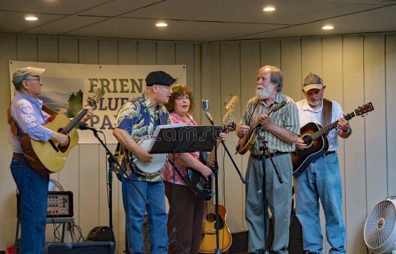 Virginia Carolina playing a Bluegrass Music. Roanoke County, VA, August 18th, 2019: Virginia Carolina playing Bluegrass Music at the Roanoke Mountain Picnic Area stock photos